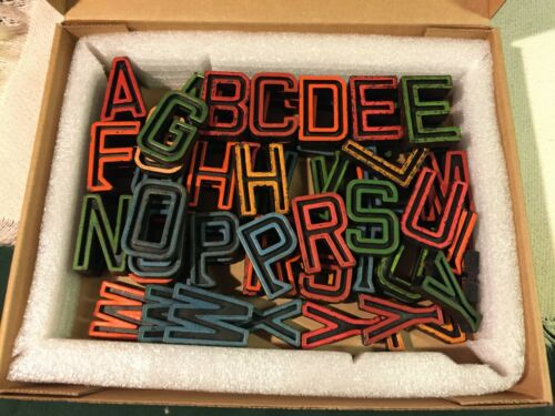 """98 Vintage Industrial Letters Black with  color Paint, 2"""" tall (c.1940s)"""
