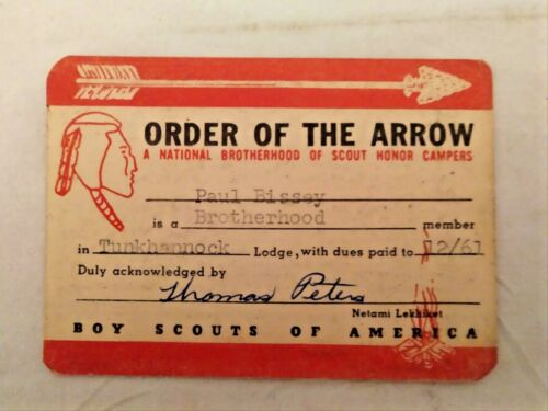 1961 Boy Scout Order Of The Arrow CARD ONLY