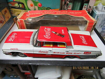 COCA COLA FORD FRICTION TIN LITHO CAR IN BOX EXC WORKING 50'S-60'S TAIYO JAPAN