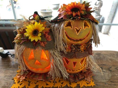 Gemmy Halloween Autumn Fiber Optic Jack O Lantern Scarecrow Pumpkin TRIO OOAK