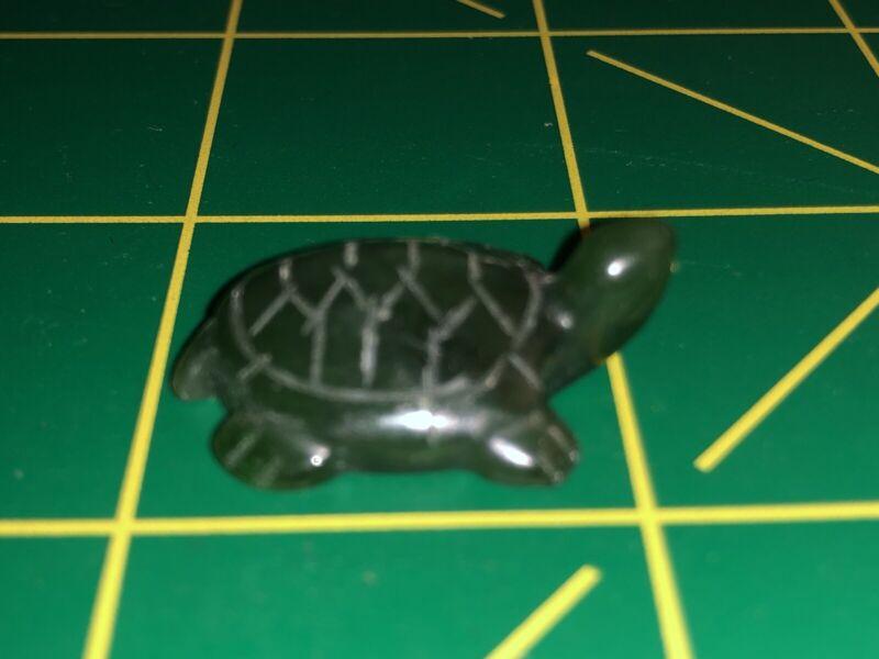 "1.09"" Long Carved British Columbia Jade Gemstone Turtle Fetish / Miniature"
