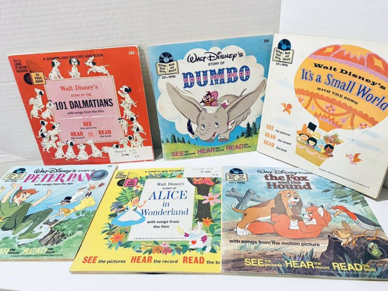 Vintage WALT DISNEY Read Along Book And Record Lot 6 - Great Condition!