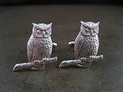 Handmade Steampunk Oxidized Silver Owl Cuff Links