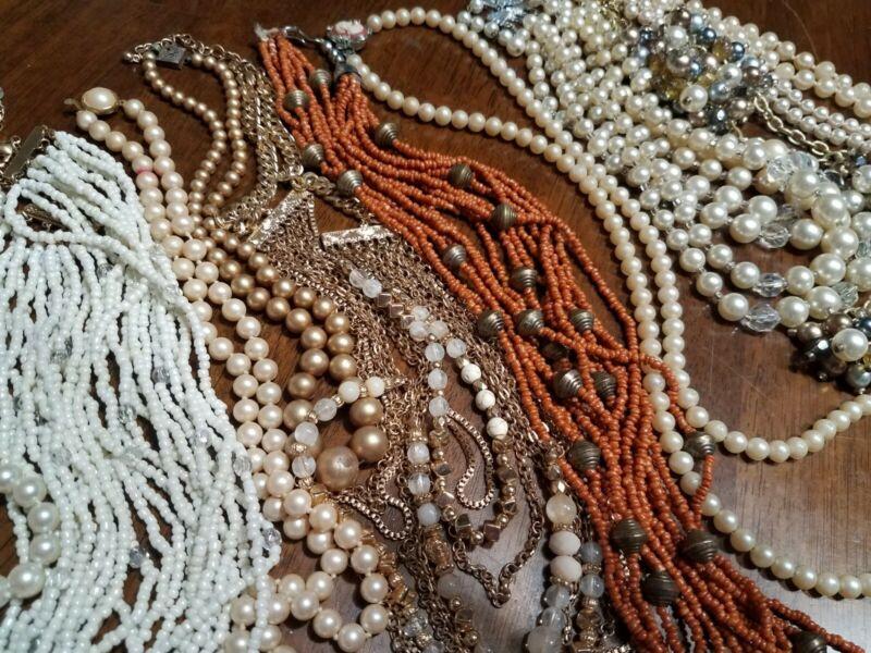 12 Pc Lot Vintage Faux Pearls Pearl Necklaces AURORA BOREALIS  CAMEO CLASP etc.