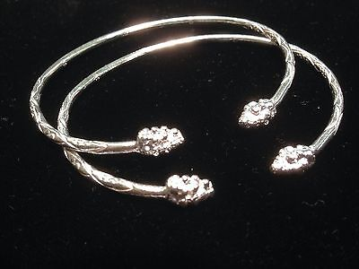 Pair Of Grape Head Handmade West Indian Sterling Silver Bangles
