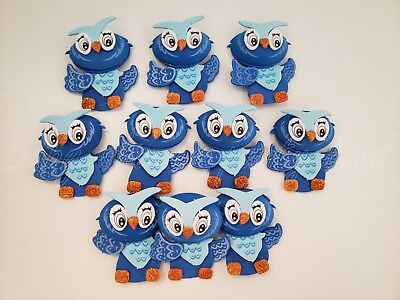 10 Blue Foam Owls Baby Shower Party Decorations its a Boy Favors Prizes Recuerdo - Owl Boy Baby Shower