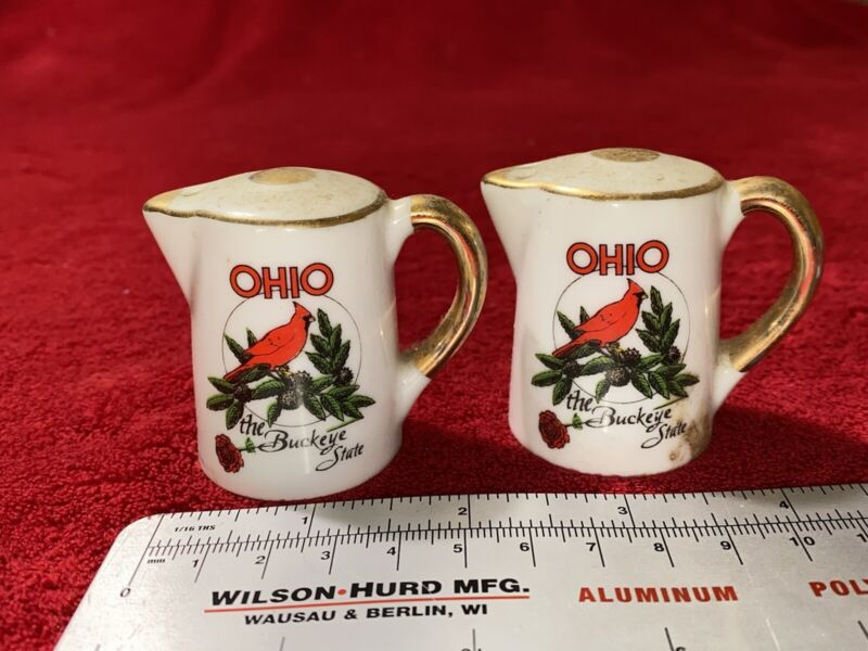 Vintage Collectible Ohio the Buckeye State Cardinal Salt and Pepper Shakers Set