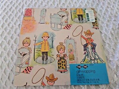 Vtg Gift Wrap Boys & Girls  All occasion Tie-Tie Franklin TN Cowboy Maid - Occasion Gift Wrap