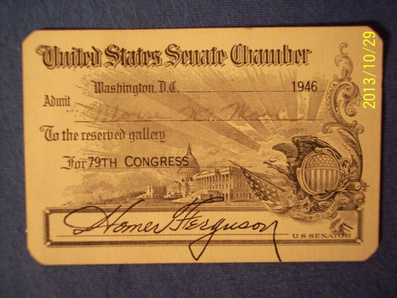 1946 United States SENATE Gallery Pass Congress US Capitol Washington D.C. RARE