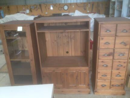 Solid Distressed Baltic Pine TV Unit