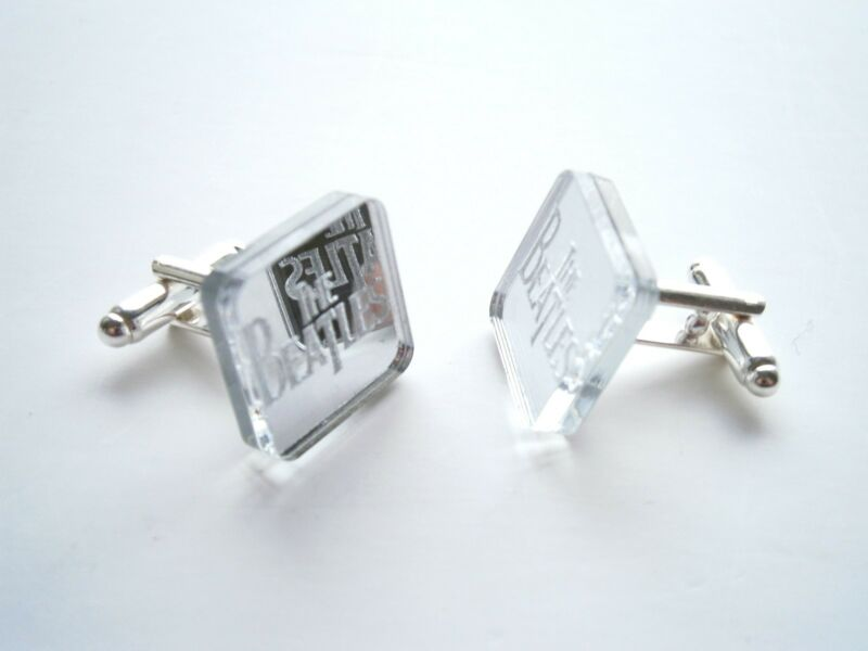 The Beatles Cufflinks Engraved Beatles Logo and lasercut from mirror plastic