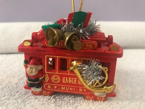 Christmas ornament Wooden Cable Car Powell & Hyde  EX4298