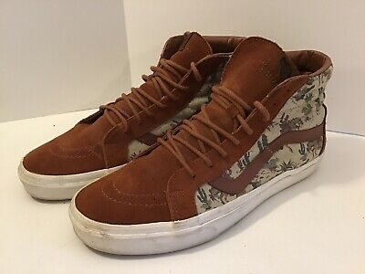 Men's Vans Off The Wall 11.5 High Top Skateboarding Shoes Brown Leather Suede👀