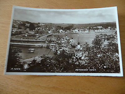 Vintage Valentines B&W postcard of Rothesay harbour (card ref. A.7249)