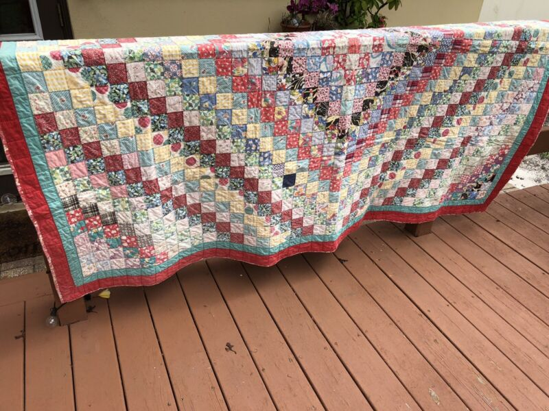 Old Early Handmade Hand Stitched Multi Colored Patchwork Quilt Lovely Exc!!