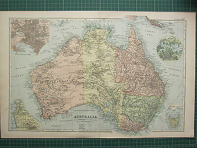 1900 LARGE VICTORIAN MAP ~ AUSTRALIA ~ NEW SOUTH WALES SYDNEY TASMANIA MELBOURNE