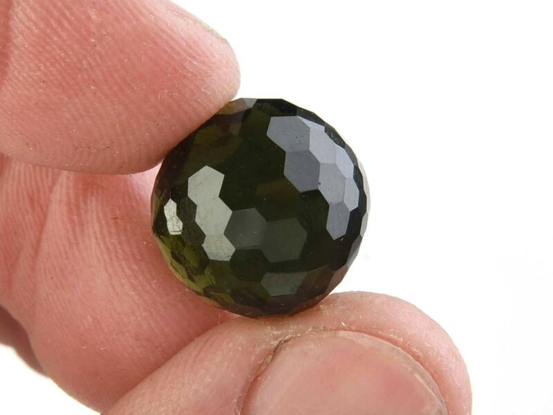 MOLDAVITE BEAD FACETED NO DRILLED 14mm - 3.3g #BRUS1493