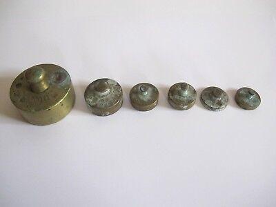 Lot ältere Messing Waage Gewichte insgesamt 6 Stück