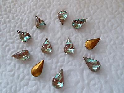 RARE SAPHIRET Teardrop Pear shape 10x6mm 1 piece Vintage Antique glass opal blue