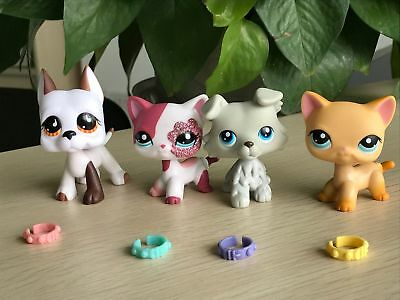 4x Littlest Pet Shop Great Dane Dog #750 Collie #363 Cat #2291&Collars LPS Toys