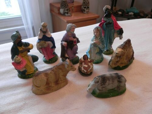 Vintage Hand Painted Chrismas Chalkware Nativity Set, Made In Italy