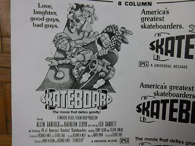 SKATEBOARD Movie Mini Ad Sheet VTG Advertising Poster Film Clip Art