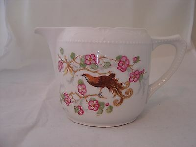 VINTAGE LOVELY PORCELAIN LARGE CREAMER PITCHER WITH BIRD AND PINK FLORAL GERMANY