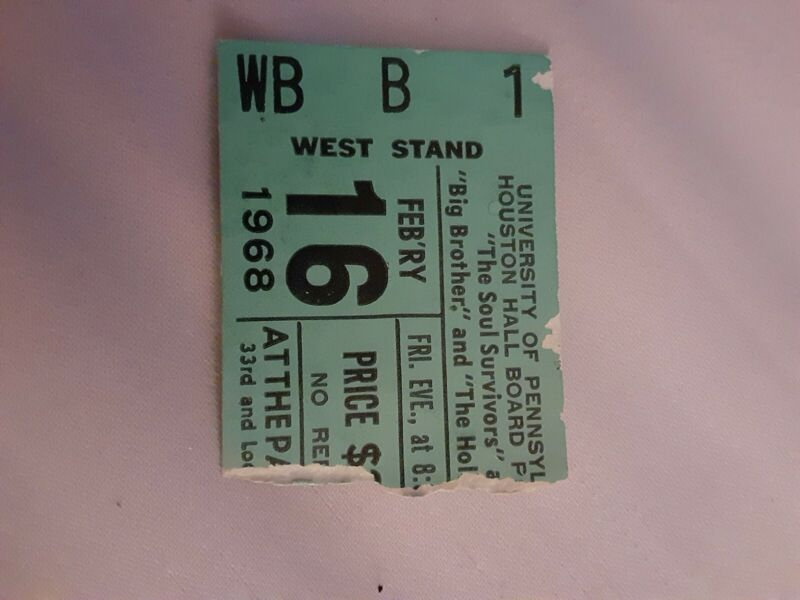Janis Joplin Big Brother Ticket Stub 1968