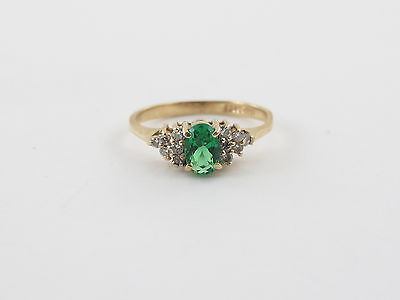 14K Yellow Gold Man Maid Diamond And Emerald Ring Size 6