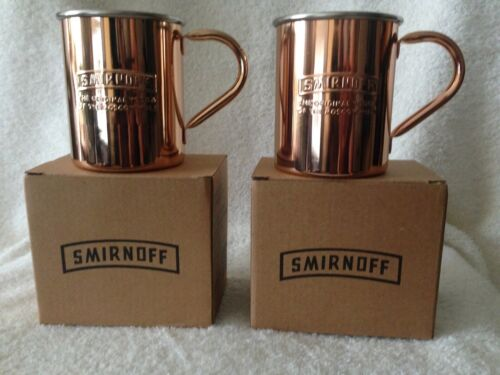 2 Smirnoff Copper Moscow Mule Mugs. NEW In Box! Great Barware! Hand Wash Only.