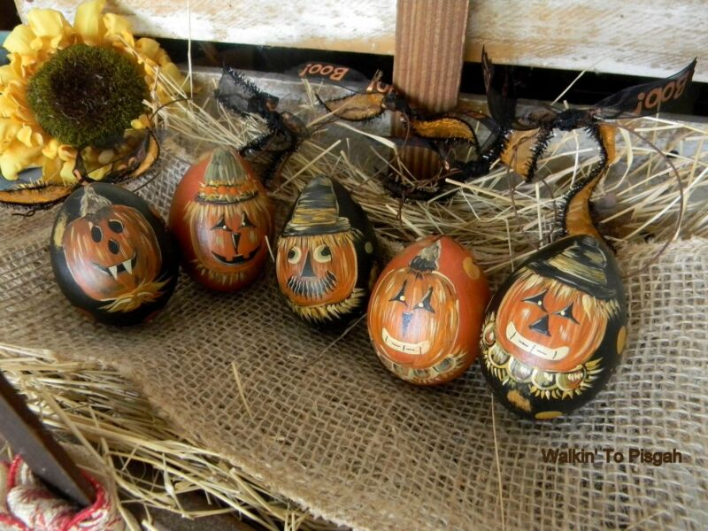 Primitive Halloween Egg Gourd Pumpkin Ornaments Jack O