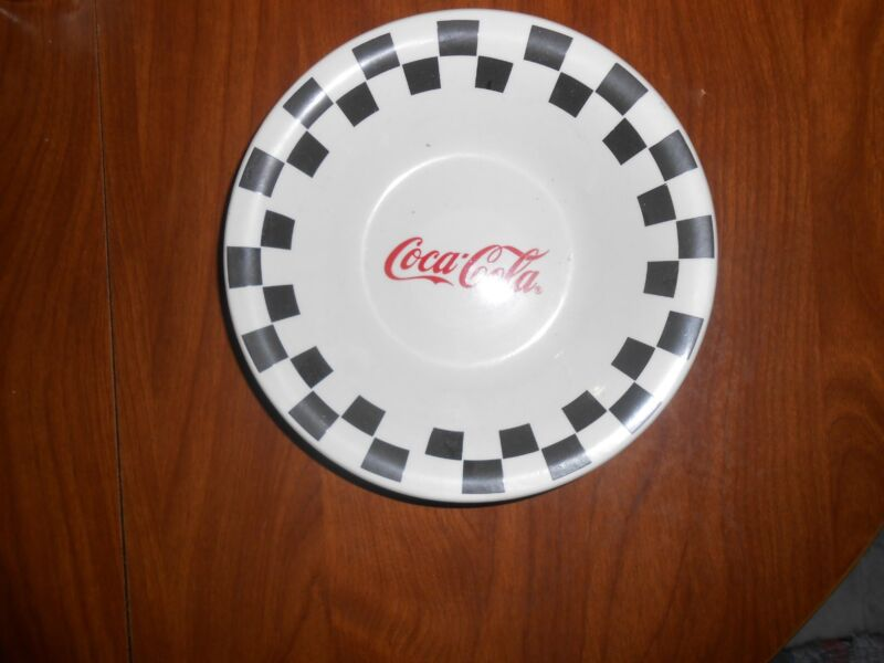 """4 1996 Coca Cola 8"""" bowls by Gibson Checkerboard Pattern"""