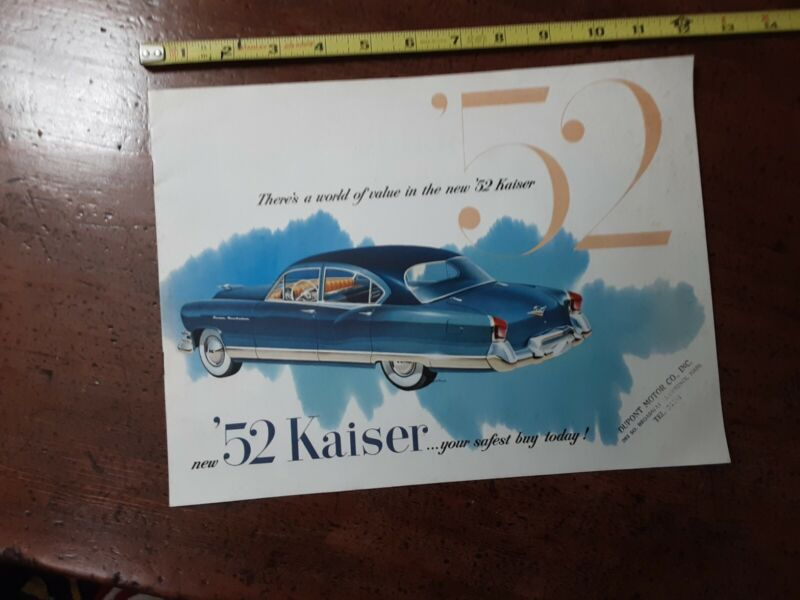 1952 KAISER SALES BOOKLET- WITH DEALER STAMP!
