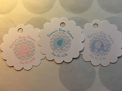 Pink Baby Elephant Baby Shower (Baby Elephant Baby Shower/Sprinkle Customized Favor Tags 40 Ct (Pink, Blue,)