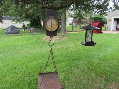ANTIQUE GENERAL STORE LANDERS FRARY & CLARK 10 LB HANGING SCALE & SQUARE PAN