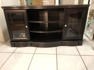 TV stand with glass side doors and drawers