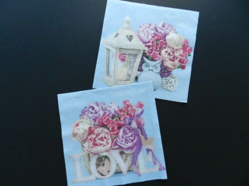 2 (Two) Single Lunch Size Paper Napkins Decoupage Craft Shabby Chic with Lantern