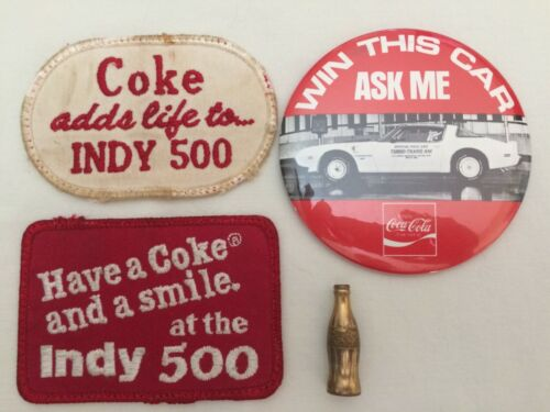 1 Coca-Cola 1980 Pontiac Trans Am Pace Car Button Pin, 2 Patches & 1 Mini Bottle