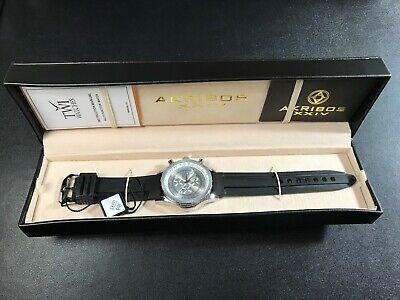 Akribos XXIV~AK532SS Men's Black Conqueror Multi Function Rubber Strap Watch~EXC