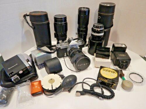 NIKON NIKOMAT N 35mm Camera With 3 Lens NUMEROUS Extras Large Lot