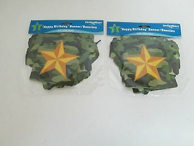 ARMY CAMOUFLAGE HAPPY BIRTHDAY BANNER, - lot of 2 -PARTY SUPPLIES