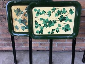 3 small vintage TV tray set