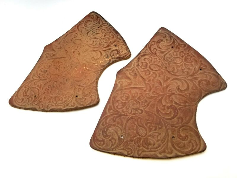PAIR Antique Floral Hand Tooled Leather TAPADEROS for Saddle Stirrups