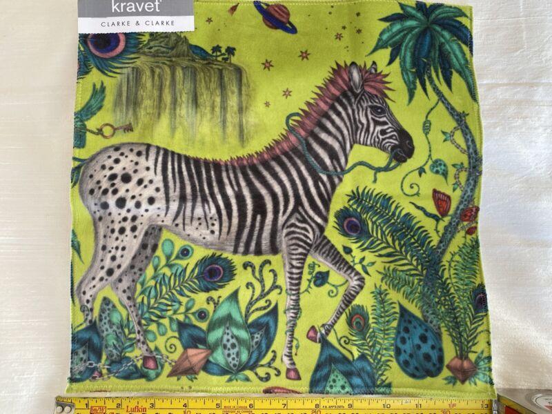 By Y KRAVET LOST WORLD VELVET PRINT LIME GREEN Zebra MSRP$176/YD SPECIAL ORDER