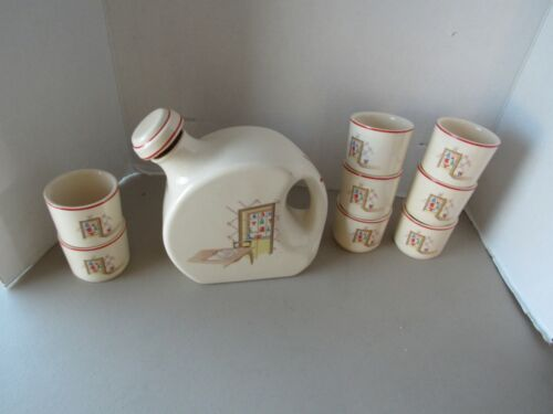 Vintage Universal Pottery Cambridge, OH Refrigerator Canteen Jug and 8 cups
