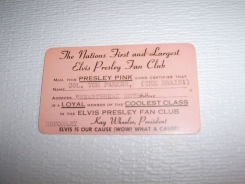 ELVIS PRESLEY PINK FAN CLUB CARD FOR COL. TOM PARKER