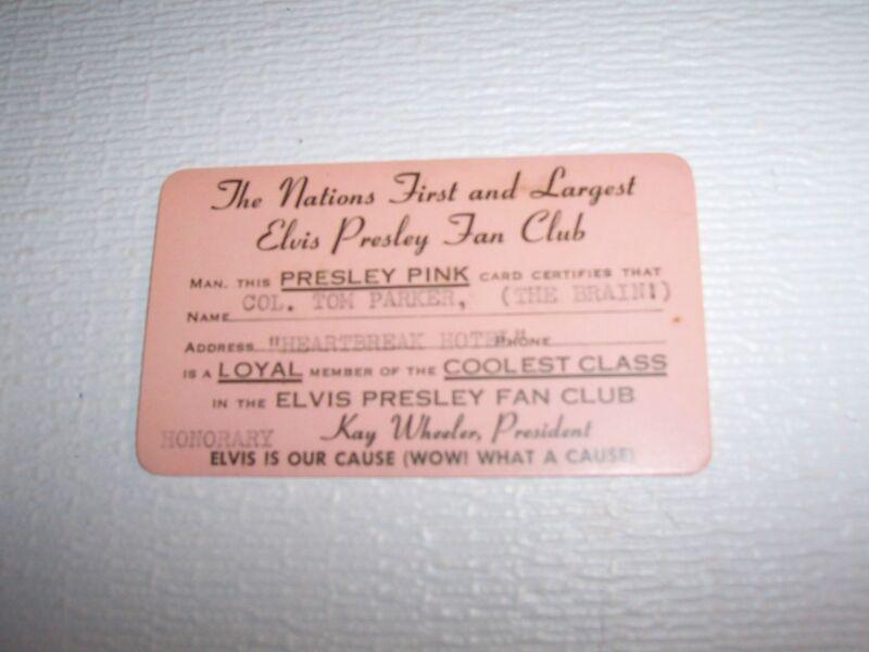 ELVIS PRESLEY PINK FAN CLUB CARD FOR COL. TOM PARKER