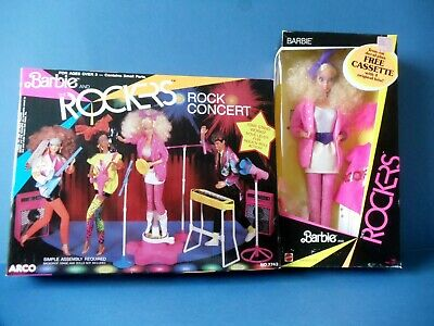 1985 Mattel BARBIE and THE ROCKERS Doll and ROCK CONCERT STAND ~ Mint NRFB