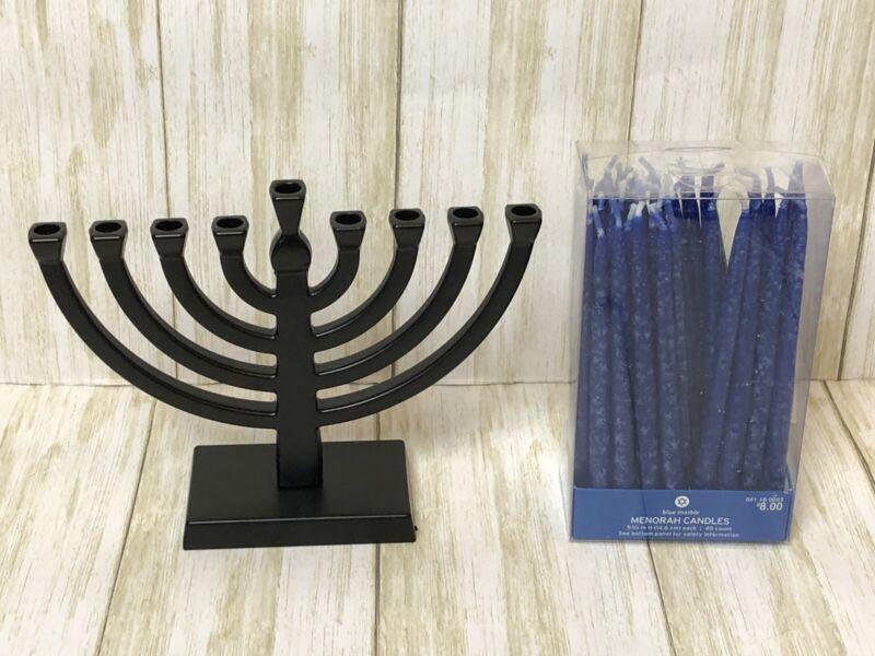 Hanukkah Metal Menorah Stand & Candles Bundle - Chanukah Festival Of Lights