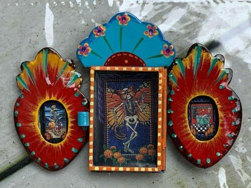 Carnival Butterfly Nicho Dia de Muertos Mexican Metal Catrina 5.5x3.5x0.5 G22